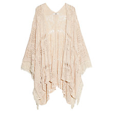 Buy Mango Openwork Fringe Cape, Light Beige Online at johnlewis.com