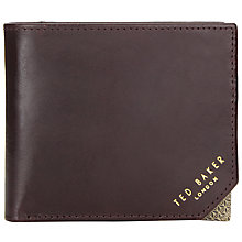 Buy Ted Baker Metal Corner Bifold Leather Wallet, Chocolate Online at johnlewis.com