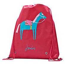 Buy Little Joule Girls' Holly Horse Drawstring Bag, Pink Online at johnlewis.com