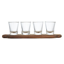Buy John Lewis Acacia Serving Tray and 4 Glasses Set Online at johnlewis.com
