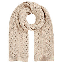 Buy John Lewis Heart Cable Scarf, Natural Online at johnlewis.com