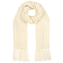 Buy John Lewis Chunky Rib Scarf, Cream Online at johnlewis.com