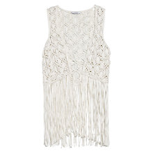 Buy Mango Fringed Crochet Gilet, Light Beige, One Size Online at johnlewis.com