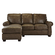 Buy John Lewis Hampstead LHF Semi-Aniline Leather Chaise End Sofa, High Plain Bronx Online at johnlewis.com