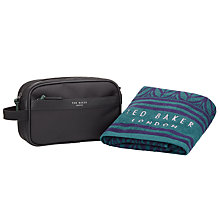 Buy Ted Baker Wash Bag and Cotton Towel Set, Black/Teal Online at johnlewis.com