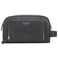 Buy Ted Baker Zip Pocket Leather Wash Bag, Black Online at johnlewis.com