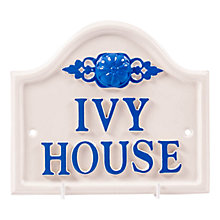 Buy The House Nameplate Company Personalised Aluminium Bridge House Sign, Rose Motif, Small Online at johnlewis.com