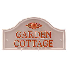 Buy The House Nameplate Company Personalised Painted Aluminium Bridge House Sign, Flower Motif, Large Online at johnlewis.com