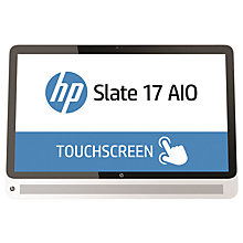 "Buy HP Slate 17-l000na Android All-In-One Desktop Computer, Intel Celeron, 2GB RAM, 32GB SSD, 17"" Full HD Touchscreen, White Online at johnlewis.com"