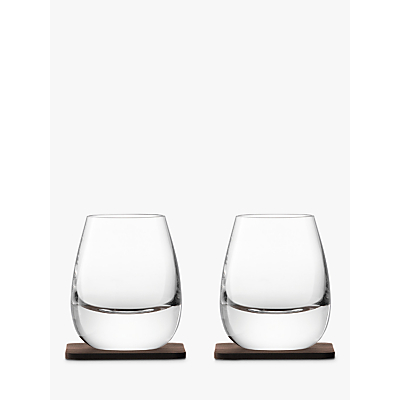 LSA International Curved Whisky Tumbler with Coaster, Set of 2