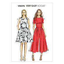 Buy Vogue Very Easy Dress and Jumpsuit Sewing Pattern, 9075 Online at johnlewis.com