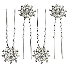 Buy John Lewis Faux Pearl and Cubic Zirconia Wheel Hair Pins, Pack of 4, Silver Online at johnlewis.com