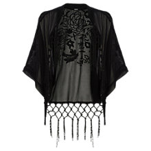 Buy Oasis Suki Embroidered Fringe Kimono, Black Online at johnlewis.com