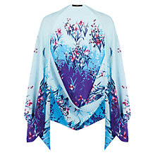 Buy Oasis Flower and Bird Print Cape, Iris Blue Online at johnlewis.com