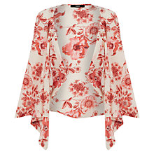 Buy Oasis Floral Print Kimono Cape, Red / White Online at johnlewis.com