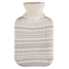 Buy John Lewis Croft Hottie Fair Isle Knit Pattern Hot Water Bottle, Grey Online at johnlewis.com