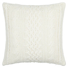 Buy John Lewis Croft Cable Knit Cushion, Cream Online at johnlewis.com
