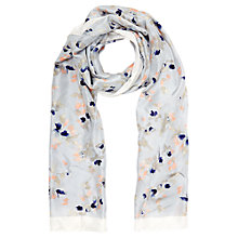 Buy Jigsaw Tinted Bloom Silk Scarf, Grey Online at johnlewis.com