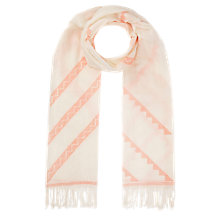 Buy Jigsaw Graphic Embroidered Scarf, Orange Online at johnlewis.com