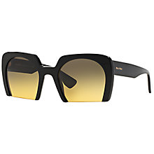 Buy Miu Miu MU06QS Rectangular Framed Sunglasses, Black Online at johnlewis.com