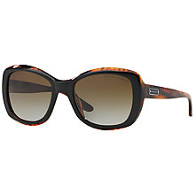 Buy Ralph Lauren RL8132 Square Framed Polarised Sunglasses, Black/Brown Online at johnlewis.com