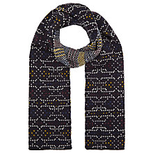 Buy Kin by John Lewis Birdseye Geometric Print Scarf, Navy Online at johnlewis.com