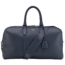 Buy BOSS Leather Gasdon Holdall Bag, Navy Online at johnlewis.com