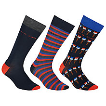 Buy Ted Baker Paintbrush/Stripe/Plain Socks, Pack of 3, Gift Set Online at johnlewis.com