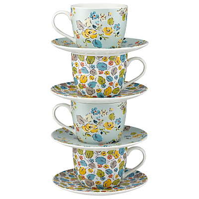 Cath Kidston Woodland Rose Teacups and Saucers, Set of 4