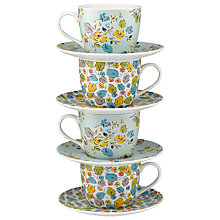 Buy Cath Kidston Woodland Rose Teacups and Saucers, Set of 4 Online at johnlewis.com
