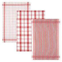 Buy John Lewis Red Check Tea Towels, Set of 3 Online at johnlewis.com