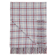 Buy John Lewis Simple Check Throw, Grey/Red Online at johnlewis.com