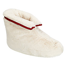 Buy John Lewis Shearling Foot Duvet Slippers, Cream/Red Online at johnlewis.com