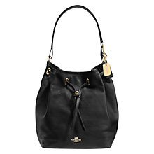 Buy Coach Drawstring Leather Bucket Bag, Black Online at johnlewis.com