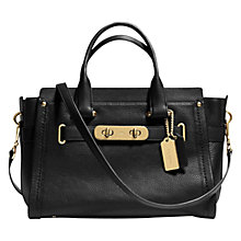 Buy Coach Swagger Leather Carryall Bag, Black Online at johnlewis.com