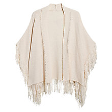 Buy Mango Fringe Detail Cape, Light Beige Online at johnlewis.com