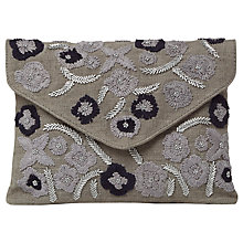 Buy White Stuff Embellished Linen Envelope Bag, Grey Online at johnlewis.com