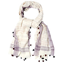 Buy White Stuff Stripey Tassle Scarf, Off White Online at johnlewis.com