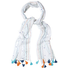 Buy White Stuff Embroidered Tassel Scarf, White/Multi Online at johnlewis.com