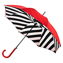 Buy Lulu Guinness Diagonal Stripe Bloomsbury Umbrella, Red Online at johnlewis.com