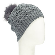 Buy John Lewis Honeycomb Pom Pom Beanie, Charcoal Online at johnlewis.com