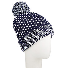 Buy John Lewis Birdseye Pattern Pom Beanie Hat, Navy Online at johnlewis.com