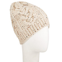 Buy John Lewis Heart Cable Beanie, Natural Online at johnlewis.com