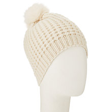 Buy John Lewis Purl Stitch Fur Pom Pom Beanie, Cream Online at johnlewis.com