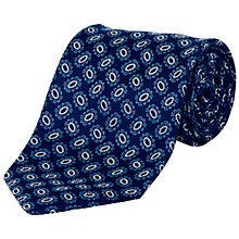 Buy Jaeger Oval Flower Silk Tie, Navy Online at johnlewis.com