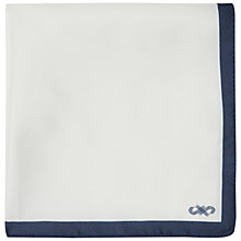 Buy Jaeger Silk Border Silk Pocket Square, Navy Online at johnlewis.com