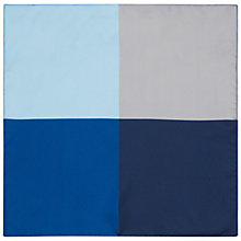 Buy Jaeger Silk Colour Block Silk Pocket Square, Blue/Multi Online at johnlewis.com