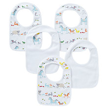 Buy John Lewis Farmyard Print Bib, Pack of 5, White/Multi Online at johnlewis.com
