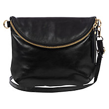 Buy Oasis Leather Clover Across Body Bag, Black Online at johnlewis.com