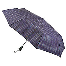 Buy Fulton Jumbo Open & Close 2 Umbrella, Navy/Plaid Online at johnlewis.com